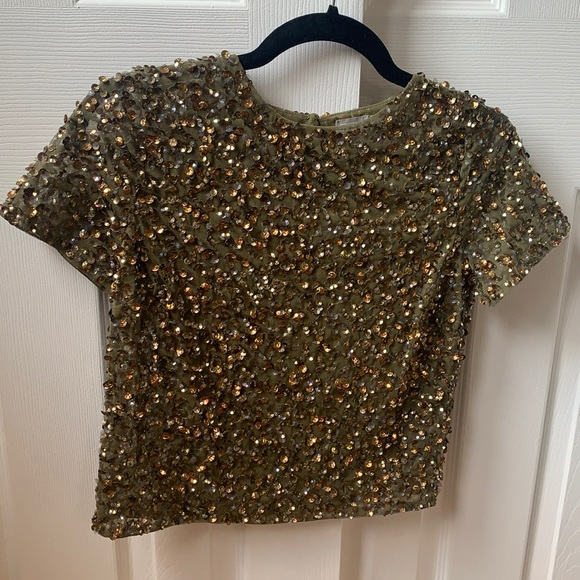 Sequin cropped top - cap sleeve - size XS